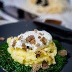Kartoffelpüree mit Rahmspinat, Trüffel und pochiertes Ei