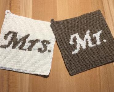 Topflappen für Mrs. & Mr. – oder Gehäkeltes zur Hochzeit