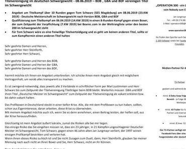 Überlegungen zum Angebot von Jan Jungmayr an Tom Schwarz und Ulf Steinforth