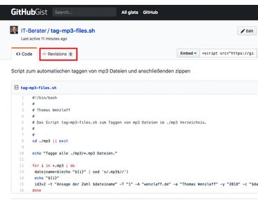 Wie kann auf eine spezielle Revision eines Gist von GitHub in WordPress ua. verwiesen werden?