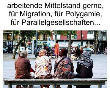 Deutschlands Bevölkerung sieht in den GRÜNEN ihr Heil und die SPD lässt den Mittelstand gerne für die Migration zahlen
