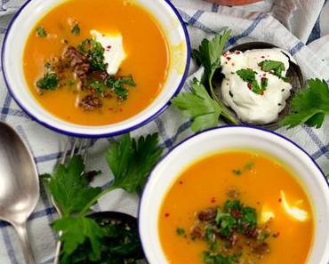 Kürbis-Süßkartoffel-Suppe mit Hack