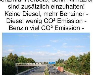 Dieselfahrverbote jetzt auch auf der Autobahn. Was kommt als nächstes? Benzinfahrverbote, denn Klimaziele sind zu erreichen