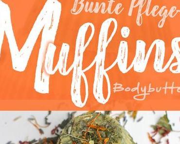 Bunte Pflegemuffins mit Blütendeko