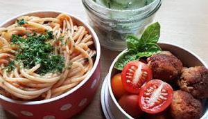 Bento #184: Spaghetti Napoli Tofu-Seitan-Bällchen