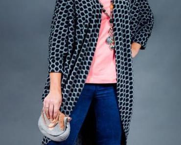 Stoff & Stil Oversize Cardigan aus Strick und Rollkragen Shirt