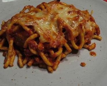 Bigoli al forno con Polpette al sugo Pomodori