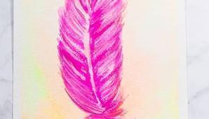 meine neuen neon Aquarellfarben ausgetestet. eine pinke Feder entstanden. Schließlich Challenge immernoch Thema Federn Macht doch auch unter Hashtag #buntundgluecklich präsentiert @diyundso @wolkenmalerin_ u...