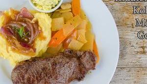 Rindersteak, Kartoffelstampf, Kräuterbutter, Kohlrabi-Möhren-Gemüse