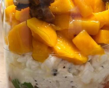 Mango, Tomaten, Hüttenkäse, Haselnuss …