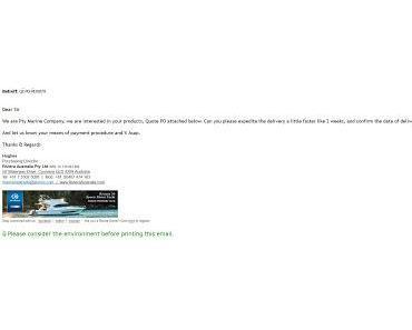Business Email aus Australien mit gefährlichem Anhang