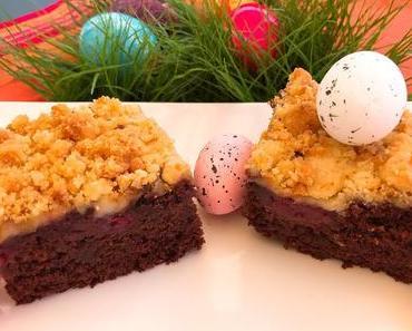 Schoko-Kirsch-Kuchen mit Amarettinistreuseln