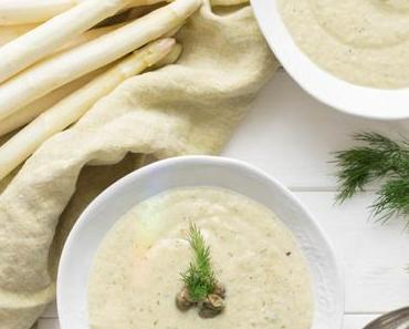 Vegane Spargelcremesuppe mit weißem Spargel