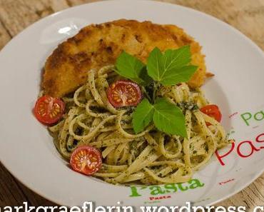 Mittwochspasta: Taglierini mit Giersch-Pesto und Kohlrabischnitzel