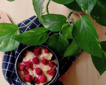 Grießauflauf mit Himbeeren & Cranberries [vegan]