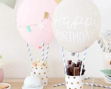 DIY Heißluftballon als Snack Holder für den Geburtstagstisch oder die Candy Bar   #happybirthdaymissredfox – 5. Bloggergeburtstag