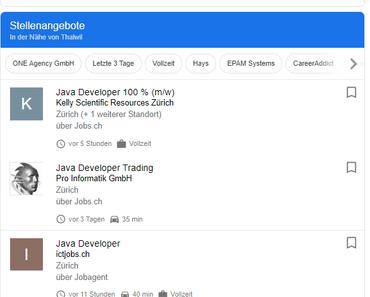 Job-Funktion in der Google Suche – noch einfachere Jobsuche jetzt auch in der Schweiz