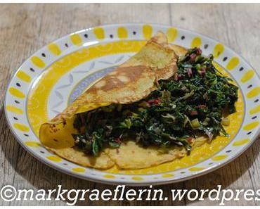 Es ist noch Mangold da – Kichererbsen-Pfannkuchen (glutenfrei) mit Mangold