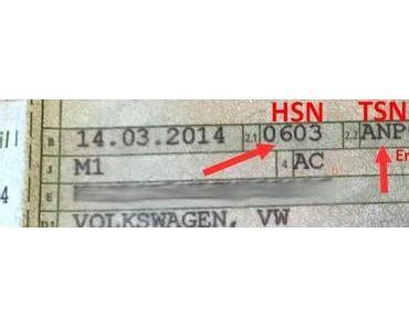 HSN und TSN auf dem Fahrzeugschein finden