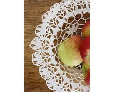 Obstkörbchen im Shabby Design aus Omas alten Häkeldeckchen :)