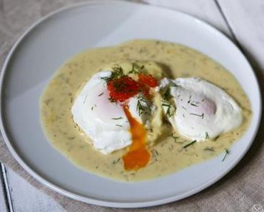 Pochierte Eier mit Senfsauce und Forellekaviar – 2mal verlorene Eier