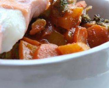 Rotes Thai-Curry mit Lachs-Kabeljau-Spiessen