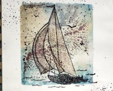 """Grußkarte Segelboot """"Bleib auf Kurs"""""""