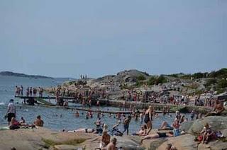 Baden am Göteborger Strand in Fiskebäck