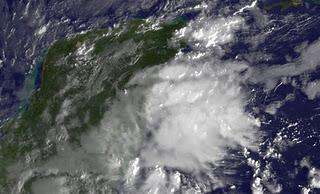 Satellitenbild und Live-Webcam Cancún: Auch die Riviera Maya erwacht mit unruhigem Wetter