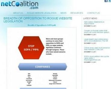 SOPA – Google, Facebook, Microsoft, Amazon, Twitter, Ebay und Wikileaks drohen mit Abschaltung