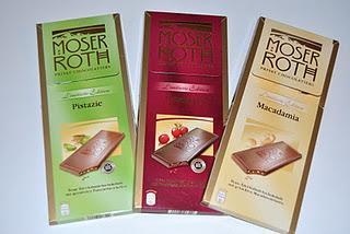 Moser Roth Limited Edition Pistazie, Cranberry und Macadamia, Sarotti Dessert Sélection