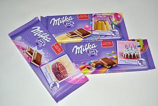 Milka Geburtstagstafeln à la Vanillepudding, Knister mit Braunsegranulat und Bunte Kakaolinsen
