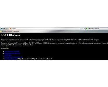 SOPA-Blackout bei identi.ca und der englischen Wikipedia