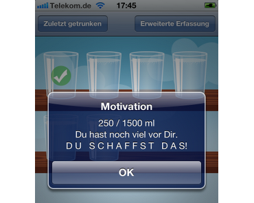 Trink-Wecker - iPhone App als Erinnerung zur Flüssigkeitsaufnahme