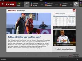 Kicker –  DAS Fußball-Magazin hat sich einen Stammplatz in der Startelf auf dem iPadverdient