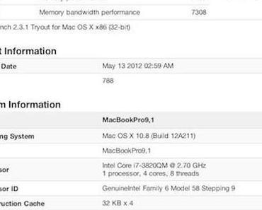 MacBook Pro 2012 und iMac 2012 tauchen bei Geekbench Test auf
