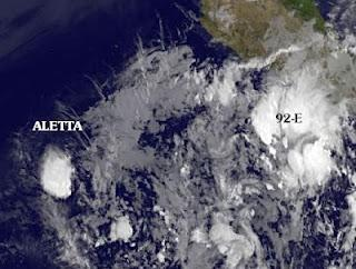 ALETTA ist kein Sturm mehr - 92E jetzt vor Acapulco, Mexiko