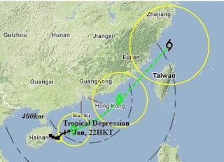 Tropisches Tief 6W (pot. Tropischer Sturm TALIM) bei Hong Kong zieht voraussichtlich nach Taiwan
