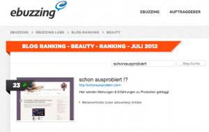 ebuzzing Blog Ranking Beauty Juli 2012