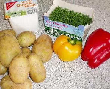 [Rezept] Gebackene Kartoffeln mit Paprika/Kresse Quark