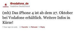 via Twitter: Vodafone bestätigt iPhone 4 ab Mittwoch den 27.10.2010