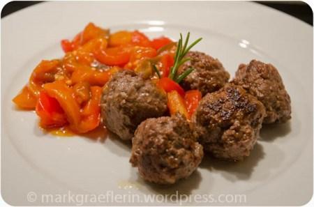 Burger Beef Balls mit Auberginen-Peperonata