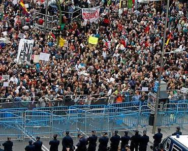 Madrid aktuell: 1.400 Polizisten schützen die Volksvertreter vor dem Volk