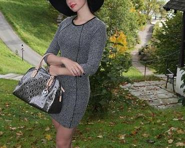 New fashion look – Grey minidress with Michael Kors bag and high heels