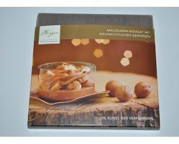 Berger Macadamia-Nougat mit weihnachtlichen Gewürzen und Vollmilchcreme-Macis gefüllt