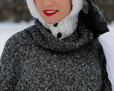 Fashion – new look – winter style with white Nobis beanie