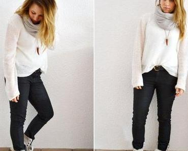 Black coated pants and cozy boots for cold and snowy days.