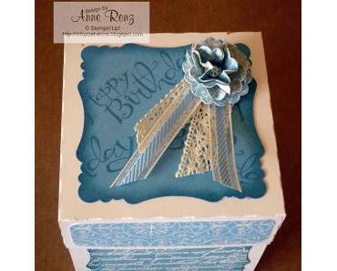Explodierende Box mit Torte zum Geburtstag...