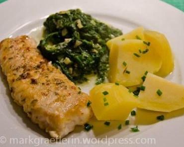 Karfreitagsfisch – Würziges Schellfischfilet mit Salzkartoffeln und Rahmspinat
