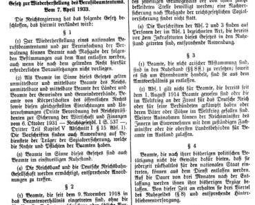 7. April 1933 • Entfernung von missliebigen Beamten + Juden